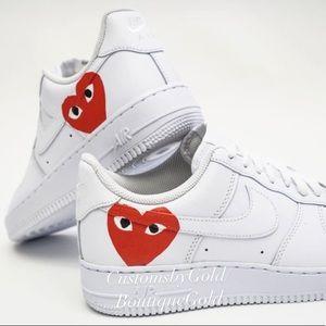Custom Nike Air Force 1 red hearts